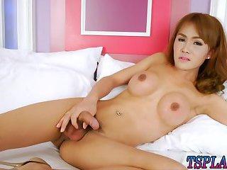 Stunning tranny Barbara strokes her dick