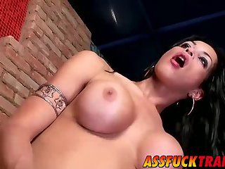 Horny shemale slut Isabelly Ferraz gets pounded roughly