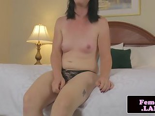 Tranny posing butthole and stroking dick