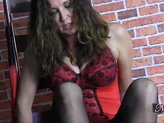 Sexy Milf foot wanks crossdresser in girly white panties before spunking on her feet