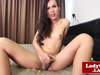 Pretty hung ladyboy strips and jerks off