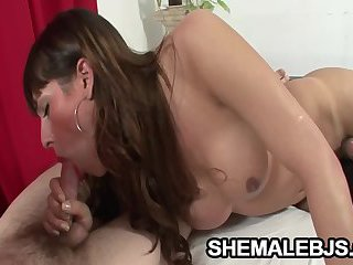 Kiara - Beautiful Tranny Tugging And Sucking A Throbbing Cock