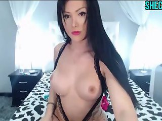 Beautiful Shemale Plays With Her Cock