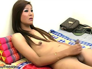 Hairy Thai TS model in black strokes her ladystick