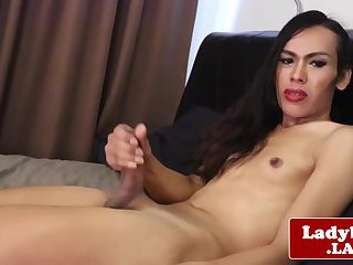 Ladyboy goddess solo bedroom masturbation