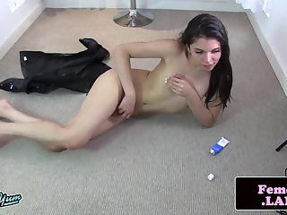 Petite femboy beauty toying ass with buttplug