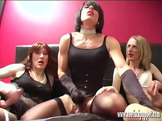 Three horny crossdresser sluts suck and fuck before jerking off together