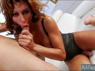 Huge boobs tranny anal banged bareback