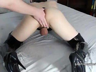 Fingered CD Slut Reaches Orgasm, Shemale Porn