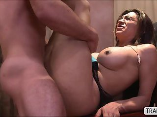 Tgirl Jessy Dubai flirts to her hunk boss and they have anal sex