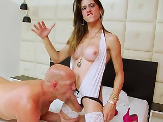 Amazing brunette TS gets in mood to fuck
