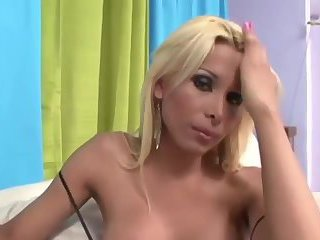 Blonde Shemale Cums Tugging