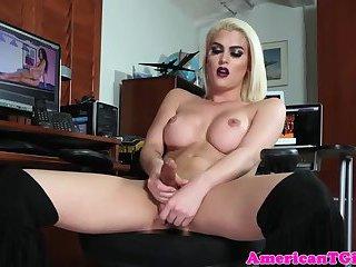 Busty tgirl masturbates after stripping