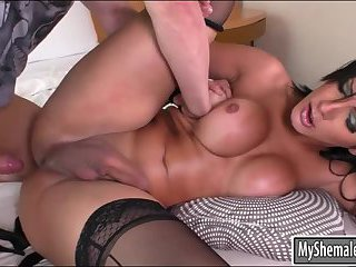 Big tits shemale and horny guy fucking