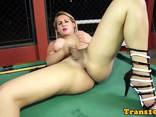 Amateur ts pleasures herself on pool table