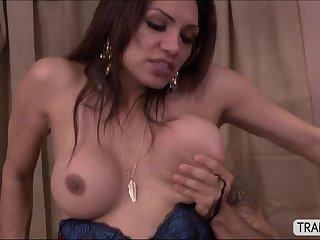 Busty tranny Jessy Dubai charms a hunk guy to have anal sex