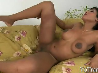 Curvy shemale gets her asshole screwed