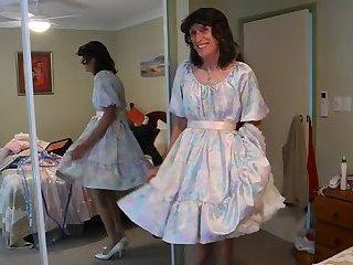 Jerking Off in Satin Dress