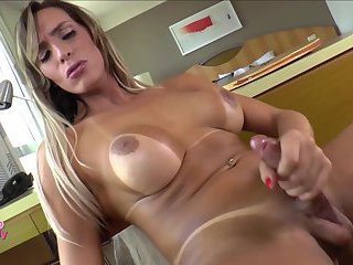 Gorgeous latina TS plays with her cock