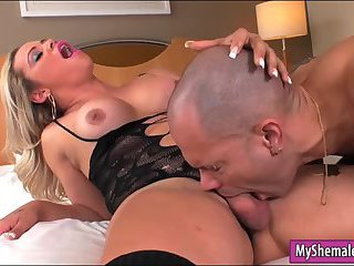 Lusty tranny with big tits gets analyzed