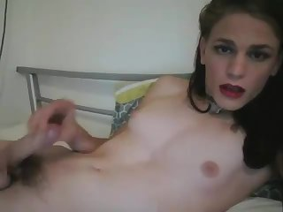 TGirl Self Suck and Cum on Cam