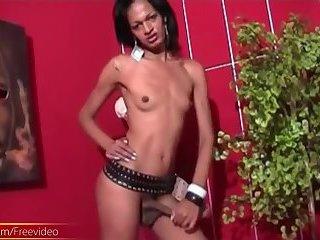 Black t-girl enjoys posing naked and showcasing her huge ass