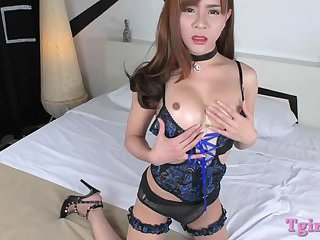 Tranny with big tits gets her ass railed