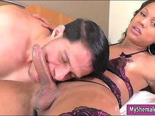 Small tits shemale gets her ass rimmed