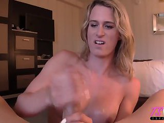 Canadian blonde enjoys jerking you off