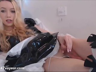 Maid Blond Shemale Masturbates