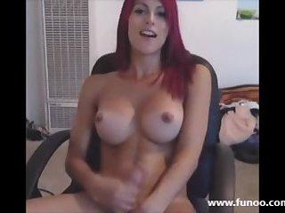 Big Titted Redhead TGirl Masturbating