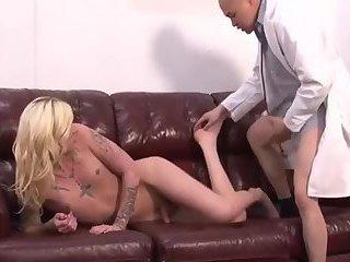Blonde Ts Gets Cum on Feet