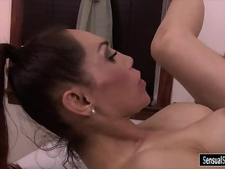 Busty tgirl receives massage and fucked
