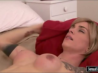 Enhanced boobs tgirl gets her ass rammed