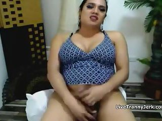 Horny Busty Shemale Strokes and Cums on Cam