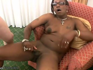 Ebony t-girl next door slurps a massive white cock in POV