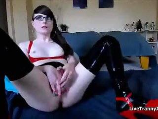 Very Attractive Transsexual Has an Orgasm