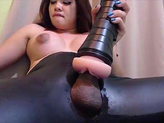 Big tits tranny fucks her fleshlight till she cums