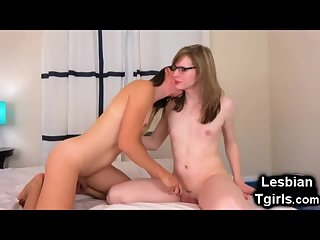 Cute Tgirl Blows Her Teen Trap GF