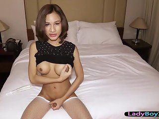 Asian fucked in her tight ladyboy ass while wearing heels