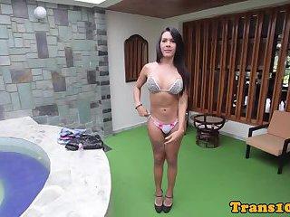 Slut nikki brazilian tranny posing in sexy bikini bts