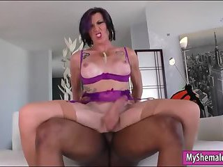 Mature TS anal fucked by big black cock