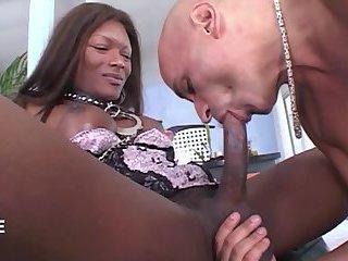 Cock sucking ebony TS loves a white dick