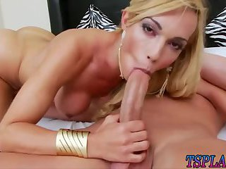 Busty tgirl and nasty man anal fucking