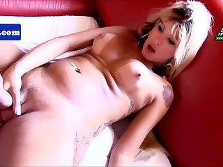 Latina pornstar tranny Laila jerking off