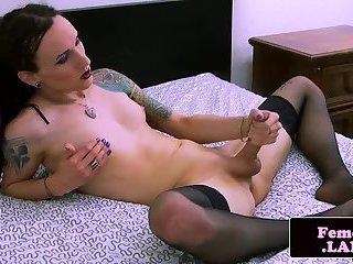 Tattooed tranny masturbates