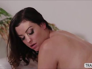 Transbabe Mandy is tuned on to busty babe Sovereign as they have sex