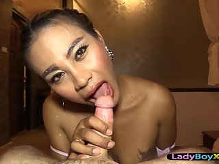 Dominating thai ladyboy with big tits fucks a guy in the ass