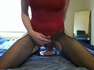 Crossdresser Mayka riding dildo until she cums