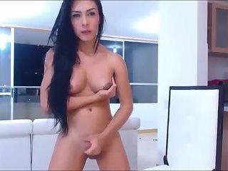 Blue Eyes TGirl Eats Her Cum